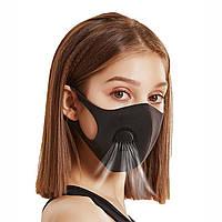 Маска защитная Питта с клапаном черная, многоразовая защитная маска для лица с угольным фильтром | ОРИГИНАЛ