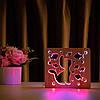 """Світильник нічник ArtEco Light з дерева LED """"Кіт та рибки"""" з пультом та регулюванням кольору, подвійний RGB"""