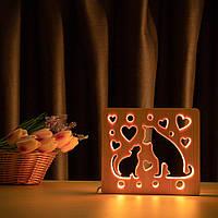 """Світильник нічник ArtEco Light з дерева LED """"Кіт та собака"""" з пультом та регулюванням кольори, RGB"""