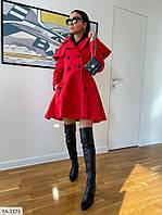 Стильное кашемировое пальто женское модное осеннее короткое расклешенное на пуговицах р-ры S, M, L,  арт. 420