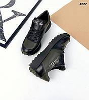 Женские кожаные кроссовки на шнуровке 36-41 р хаки
