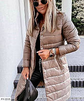 Молодежная куртка пальто женская удлиненная стеганная на осень на кнопках воротник стойка р-ры  42-48 арт 1040