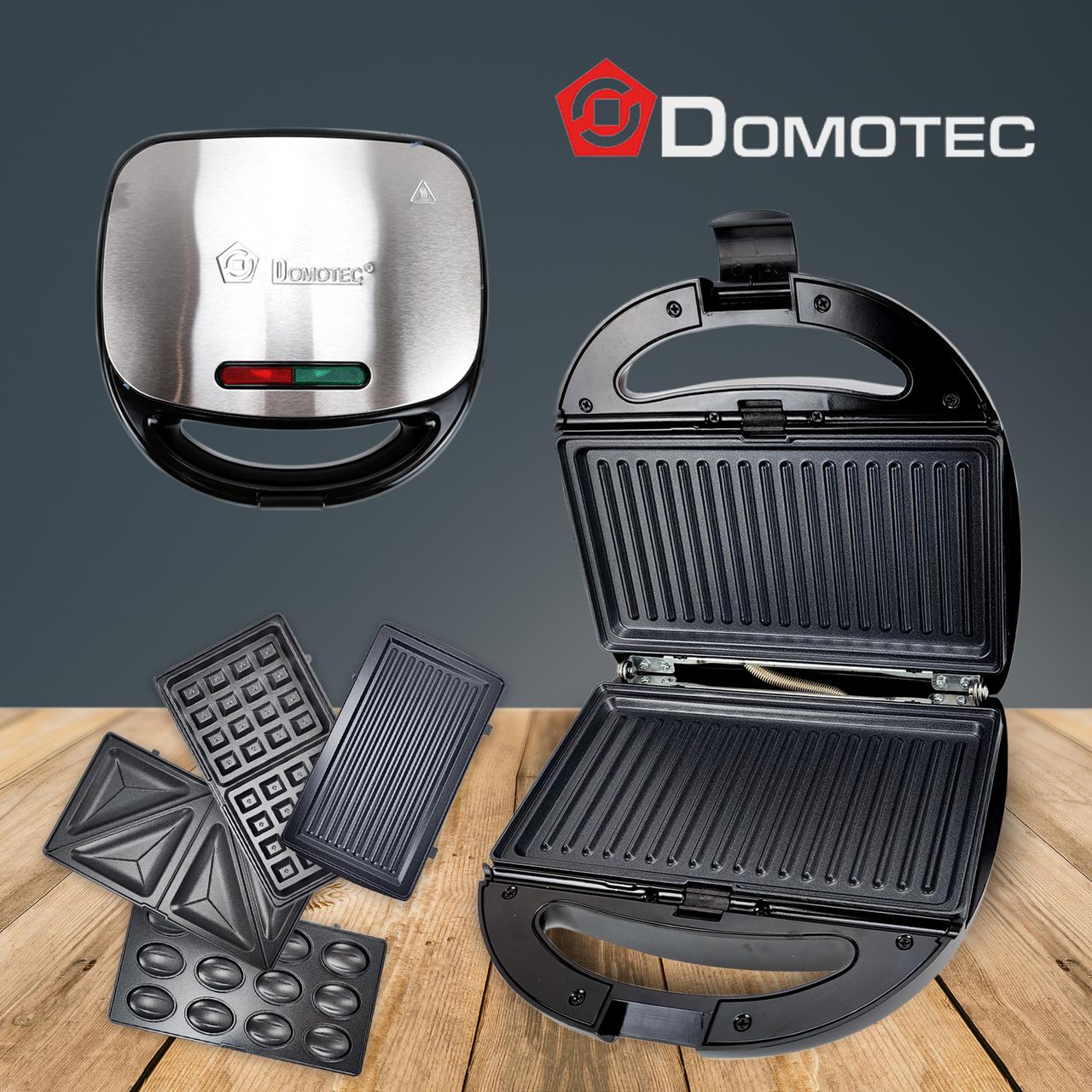 Вафельниця бутербродниця Domotec MS7704 мультимейкер сэндвичница гриль 4в1 мультигриль зі змінними панелями
