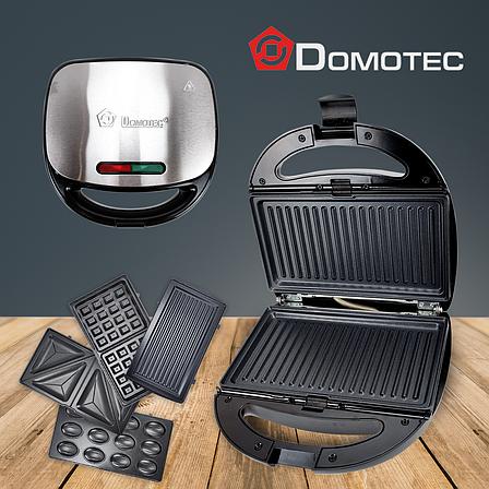 Вафельниця бутербродниця Domotec MS7704 мультимейкер сэндвичница гриль 4в1 мультигриль зі змінними панелями, фото 2