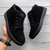 Чёрные замшевые мужские зимние ботинки Black Safe   эко-замша / искусственный мех + резина