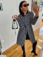 Стильное пальто женское осеннее в клетку на пуговицах классическое деловое приталенное р-ры S, M арт. 616