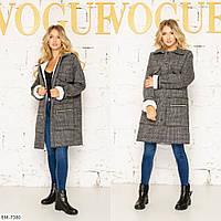 Теплое пальто женское демисезонное шерсть-букле на меху в клетку на кнопках с карманами  р-ры 42-48 арт. 152