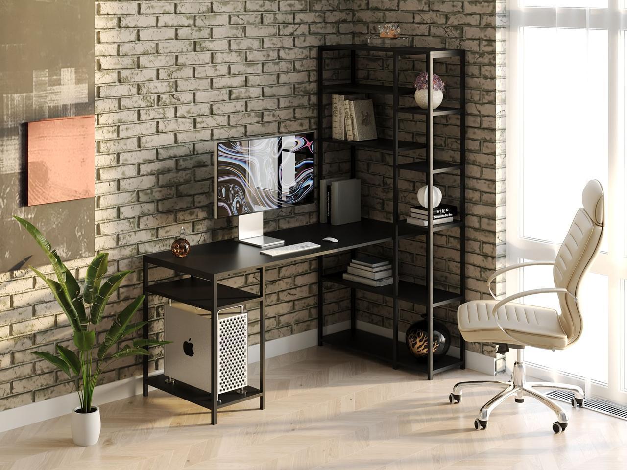Компьютерный стол лофтовый со стеллажом сбоку из ДСП VZ-56