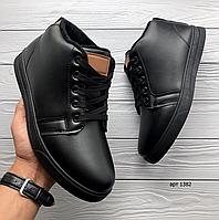 Чёрные мужские кожаные ботинки Black Safe   эко-кожа / искусственный мех + резина