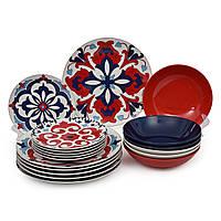 Набор столовой посуды сервиз из фарфора и керамики на 6 персон Santiago Италия
