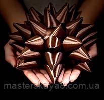 Бант большой атласный диаметр 20 см, цвет коричневый/шоколадный
