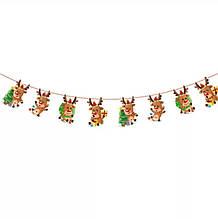 Новогодняя гирлянда - красная нить 2,8-3м и 8 деталей длиной 18см