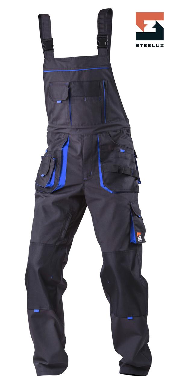 Полукомбинезон рабочий со съёмной утепленной подкладкой SteelUZ 4S с синей отделкой, спецодежда рост 182 см
