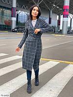 Стильное классическое деловое пальто в клетку теплое по колено миди кашемир-шерсть р-ры 42-48 арт. с41332