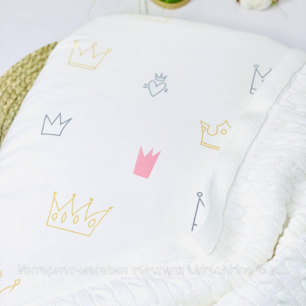 Дитяча бавовняна простынка на резинці в коляску для новонародженого з малюнком 35*75 см