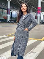 Длинное стильное пальто женское классическое деловое строгое твид с шерстю с поясом р-ры 42-48 арт. с41333
