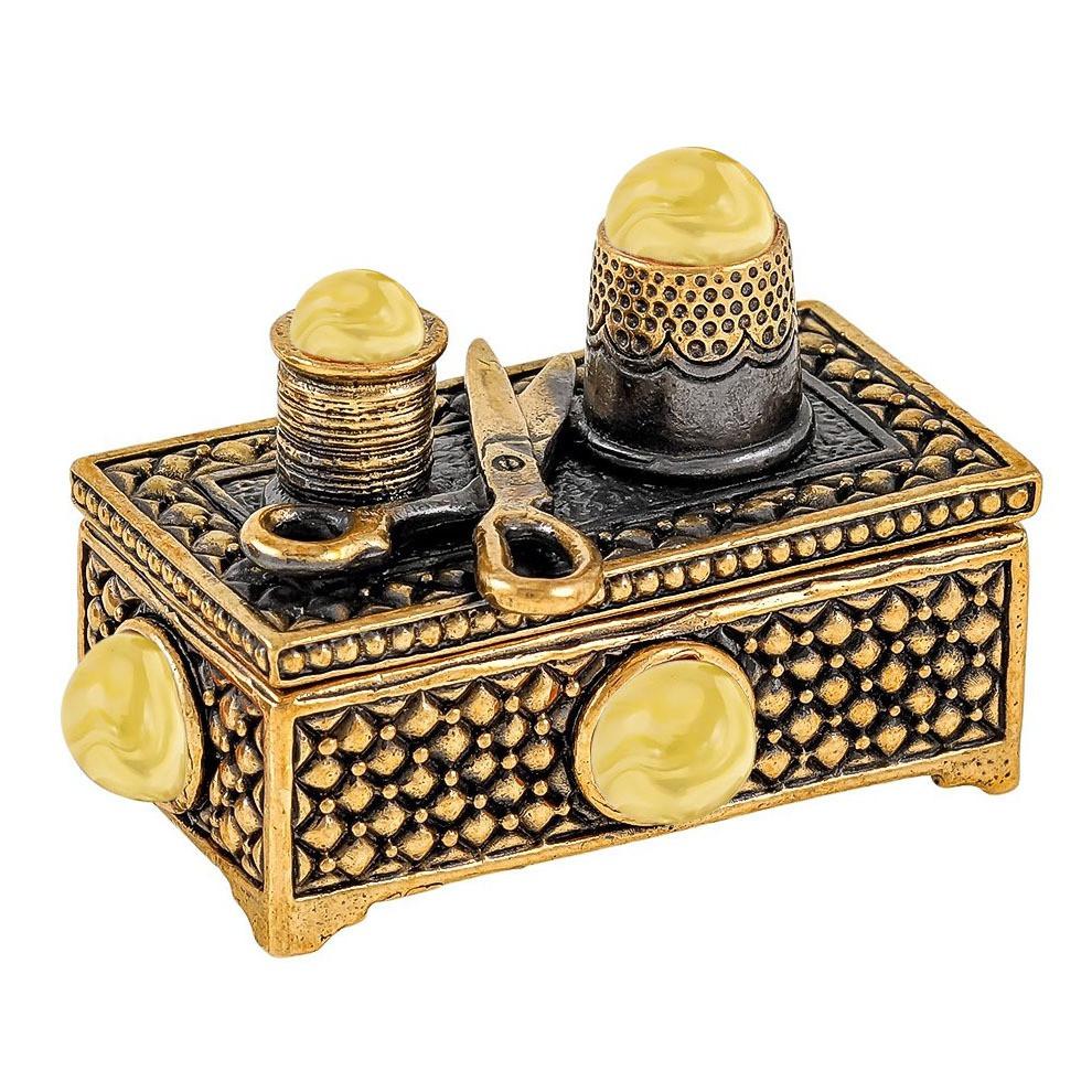 Бронзовая фигурка с янтарем Сундук швейный набор под иголки