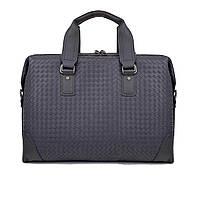 Мужской кожаный деловой портфель  черный большой