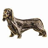Бронзова фігурка мініатюра Собака Такса, фото 2