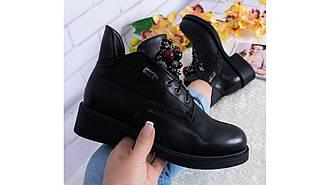 Женские ботинки черные утепленные классические на каблуке 4см язычок с бусинками 36-41 новинка