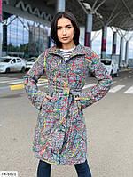 Пальто женская стильное на осень букле с шерстю с узором с карманами на пуговицах с поясом по колено арт с500