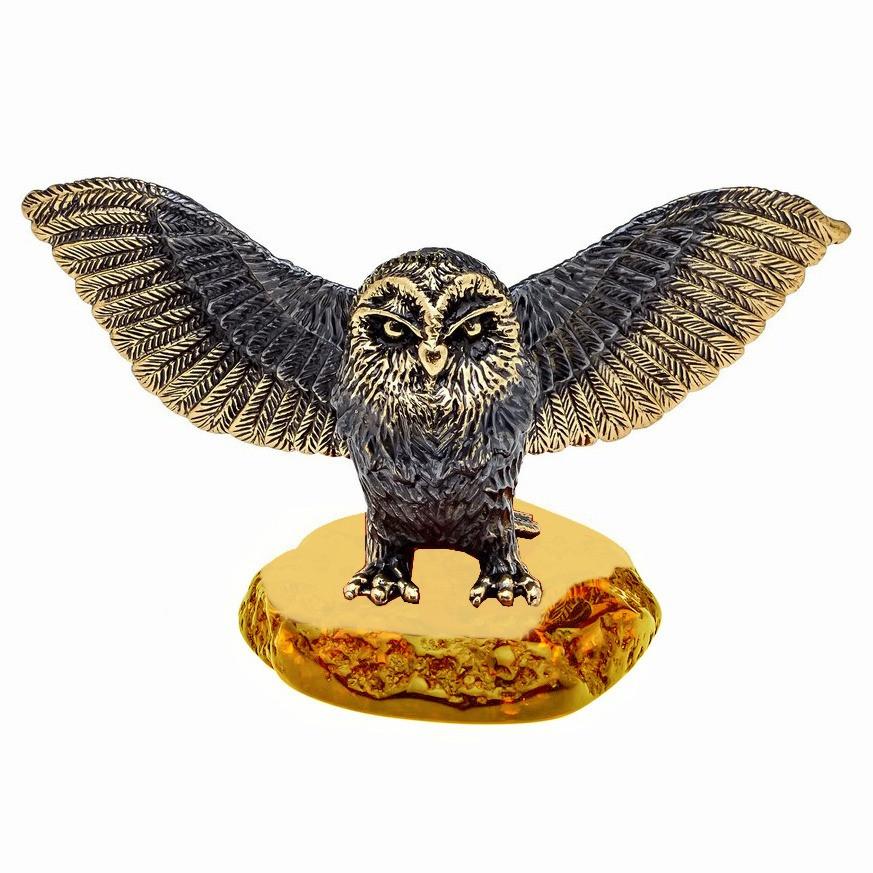 Сувенир из бронзы и янтаря фигурка Сова Хэдвиг