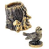 Бронзовая фигурка наперсток Пень с Чижиком, фото 2
