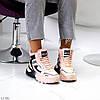 Спортивные миксовые розовые женские ботинки зимние кроссовки сникерсы, фото 2