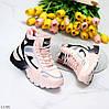 Спортивные миксовые розовые женские ботинки зимние кроссовки сникерсы, фото 9