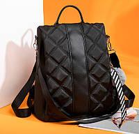 Ранец женский черный потайной карман непромокаемый нейлон легкая городская сумка рюкзак стильная новинка