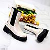 Високі глянцеві світлі бежеві жіночі черевики челсі з еластичними вставками з боків 36-23,5 см, фото 10