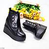 Ультра модные зимние черные женские ботинки на платформе танкетке, фото 8