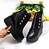 Ультра модные зимние черные женские ботинки на платформе танкетке, фото 9