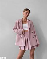 Оригінальний костюм двійка подовжений піджак з плісированою спідницею міні в складочку арт. 241
