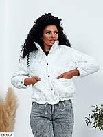 Стильна коротка куртка-бомбер жіноча осіння молодіжна на кнопках р-ри S-M, L-XL арт. 8164
