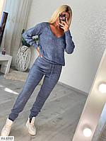 Теплый брючный вязаный костюм двойка штаны и свитер осень-зима вязка шерсть Размер: 42-48 арт. 5002