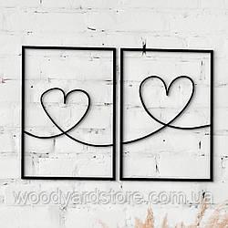 Декоративне панно з дерева. Декор на стіну. Подвійне панно Закохані Серця
