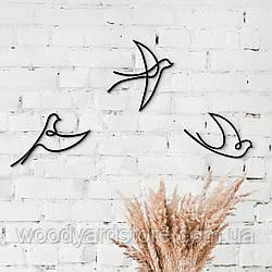 Декоративне панно з дерева. Декор на стіну. Лінійне панно Веселі Ластівки