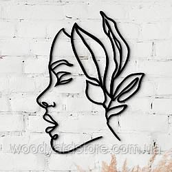 Декоративне панно з дерева. Декор на стіну. Лінійне панно Дівчина - Квітка