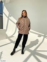 Стильна осіння куртка подовжена стьобаний на блискавці вільного крою р-ри S-M, L-XL арт. 7165