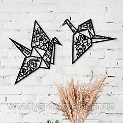 Декоративне панно з дерева. Декор на стіну. Журавлі Орігамі