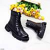 Актуальные повседневные кожаные черные женские ботинки натуральная кожа, фото 2
