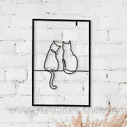 Декоративне панно з дерева. Декор на стіну. Лінійне панно Сімейка Кішок в Рамці