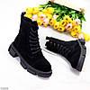 Актуальные повседневные замшевые черные женские ботинки натуральная кожа, фото 3