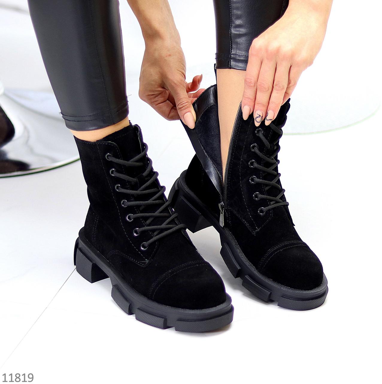 Актуальные повседневные замшевые черные женские ботинки натуральная кожа