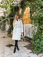 Стильне жіноче осіннє пальто по коліно стеганное на синтепоні на кнопках з поясом р-ри S, M, L арт. 7173