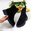 Актуальные повседневные замшевые черные женские ботинки натуральная кожа, фото 2