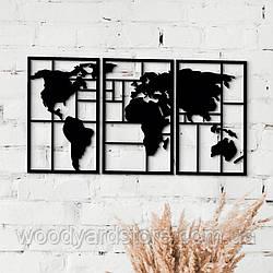 Декоративне панно з дерева. Декор на стіну. Модульне панно Подорож Світом