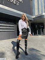 Стильный комплект двойка матовая мини юбка карандаш из эко-кожи и коттоновая рубашка арт. 426