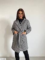 Стильное кашемировое осеннее пальто на запах в клетку черно-белое на подкладке с поясом р-ры 42-46 арт. 368